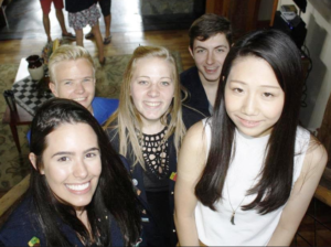 The district has five Inbound students. From the left are: Sophia (Brazil), Robin (France), Oceane (Belgium), Agustin (Argentina), and Mirei (Japan)